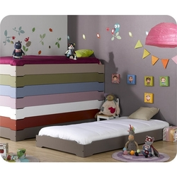 Cama apilable, happy, 90x190, con somier, chocolate ( lote de 2 camas apilables )